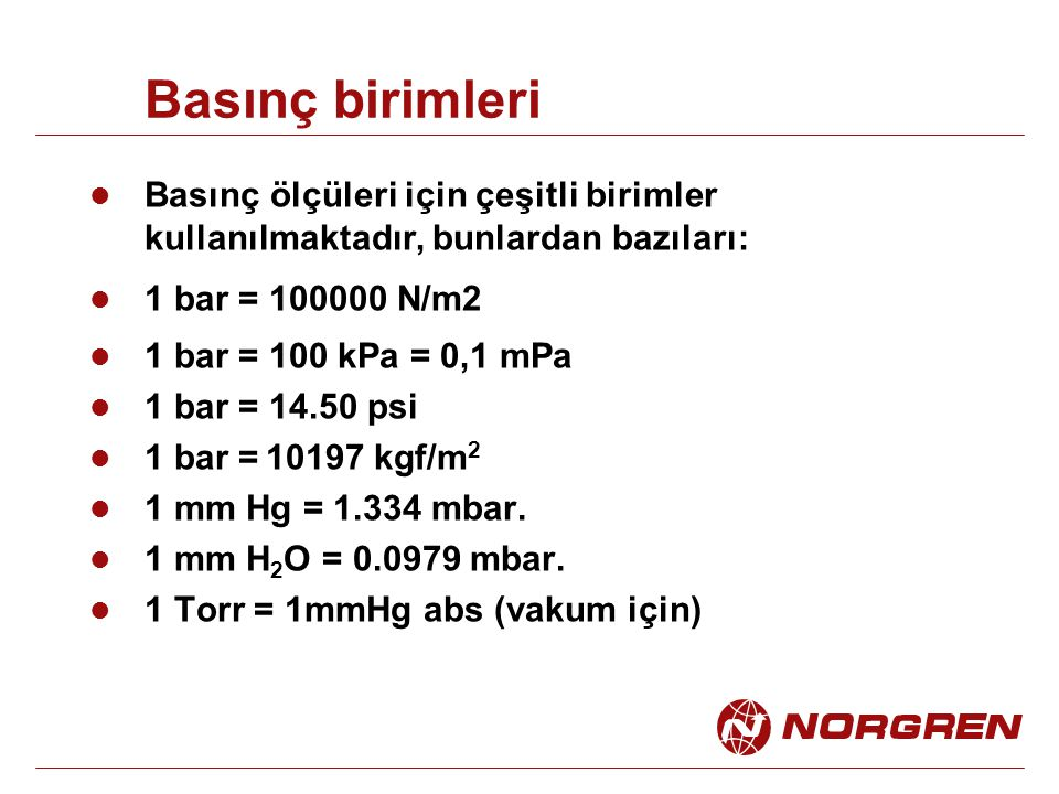 Basınç birimleri Basınç ölçüleri için çeşitli birimler kullanılmaktadır, bunlardan bazıları: 1 bar = 100000 N/m2.