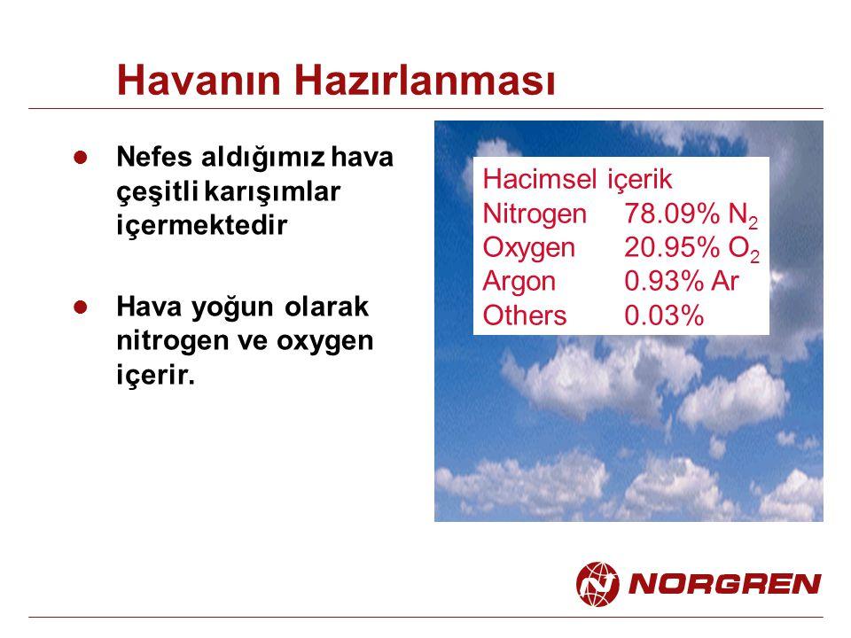 Havanın Hazırlanması Nefes aldığımız hava çeşitli karışımlar içermektedir. Hava yoğun olarak nitrogen ve oxygen içerir.