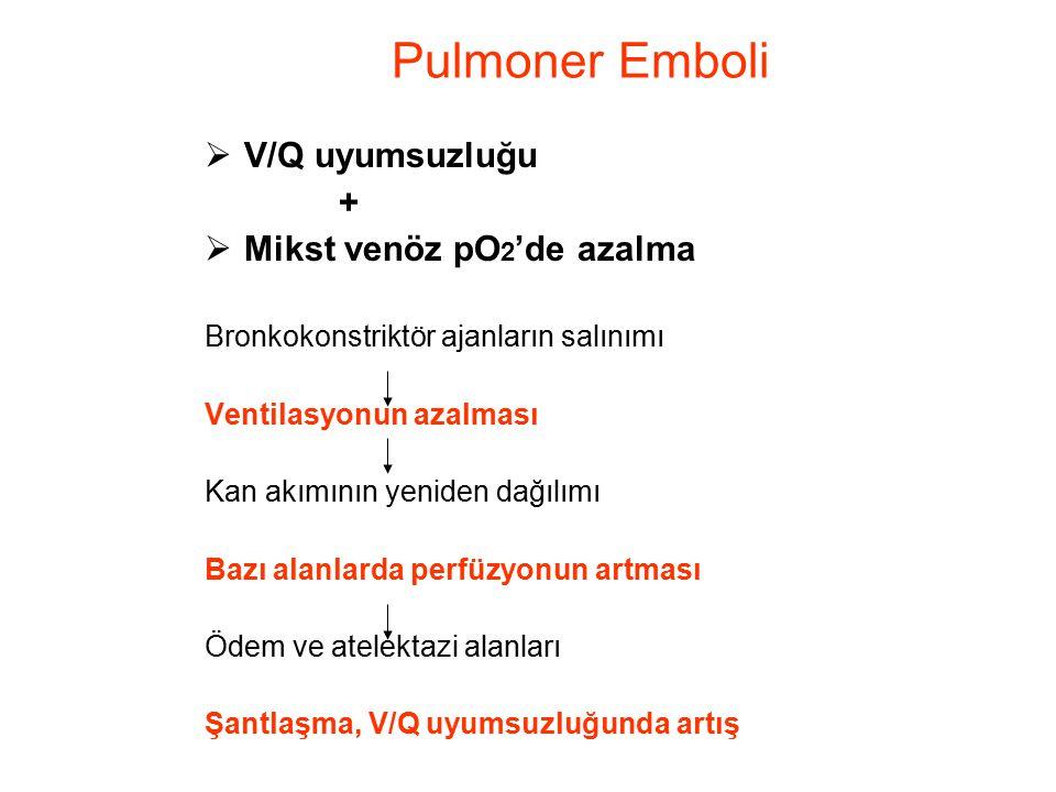 Pulmoner Emboli V/Q uyumsuzluğu + Mikst venöz pO2'de azalma