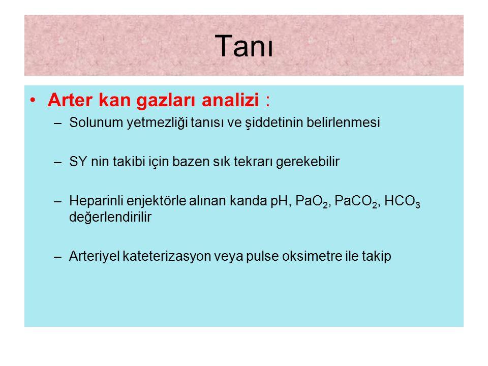 Tanı Arter kan gazları analizi :