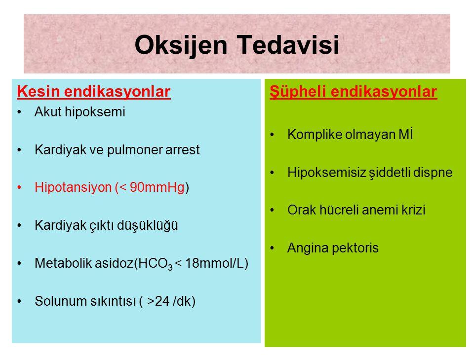 Oksijen Tedavisi Kesin endikasyonlar Şüpheli endikasyonlar