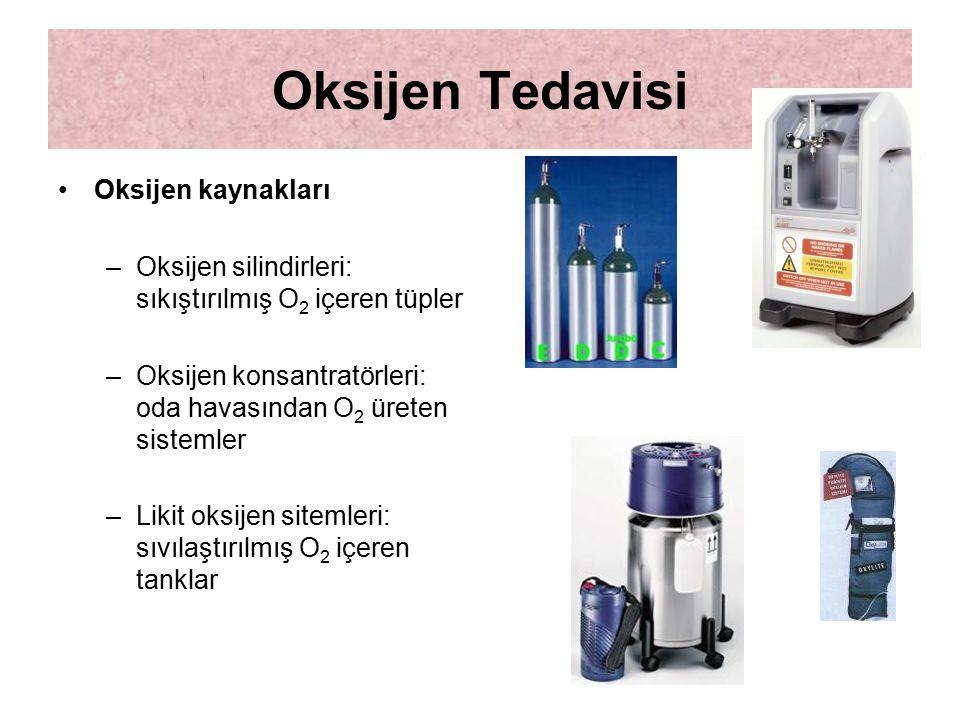 Oksijen Tedavisi Oksijen kaynakları
