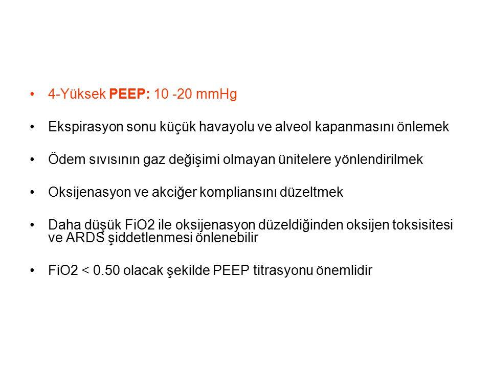 4-Yüksek PEEP: 10 -20 mmHg Ekspirasyon sonu küçük havayolu ve alveol kapanmasını önlemek.