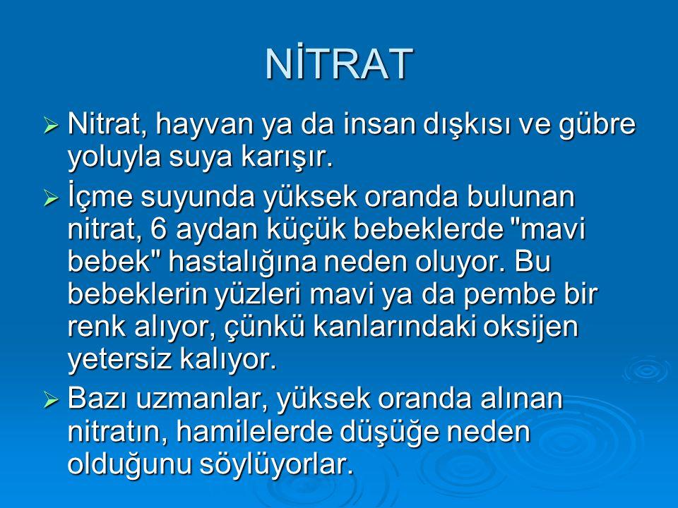 NİTRAT Nitrat, hayvan ya da insan dışkısı ve gübre yoluyla suya karışır.