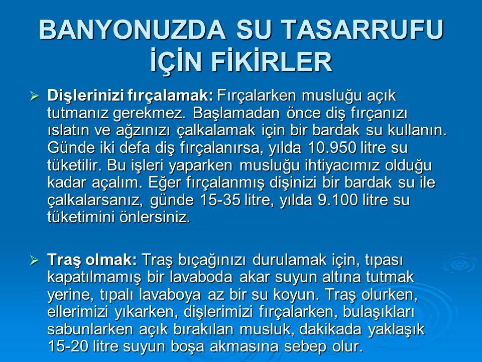 BANYONUZDA SU TASARRUFU İÇİN FİKİRLER