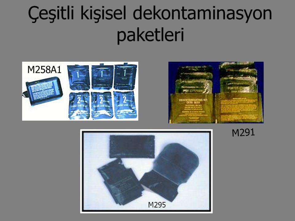 Çeşitli kişisel dekontaminasyon paketleri