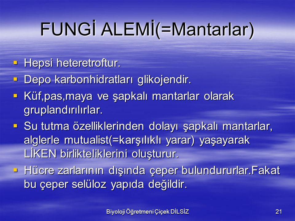FUNGİ ALEMİ(=Mantarlar)