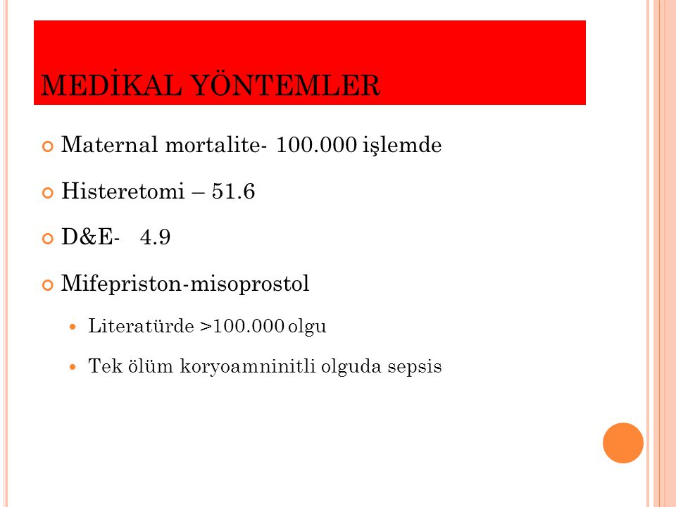 MEDİKAL YÖNTEMLER Maternal mortalite- 100.000 işlemde