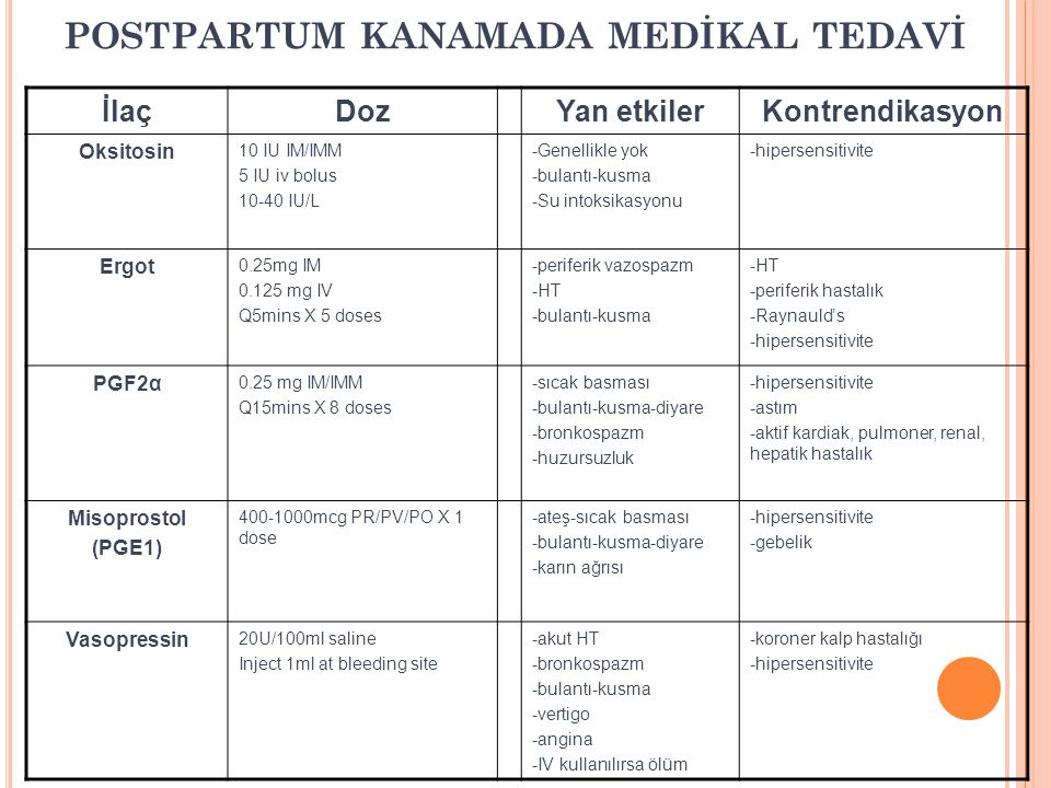POSTPARTUM KANAMADA MEDİKAL TEDAVİ