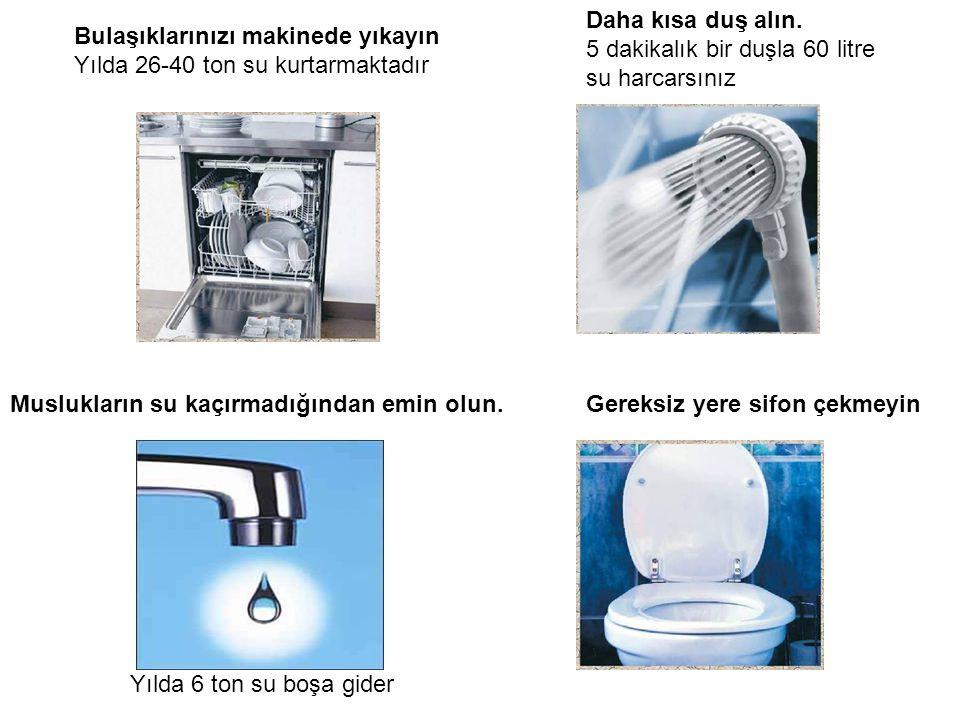 Daha kısa duş alın. 5 dakikalık bir duşla 60 litre su harcarsınız. Bulaşıklarınızı makinede yıkayın.