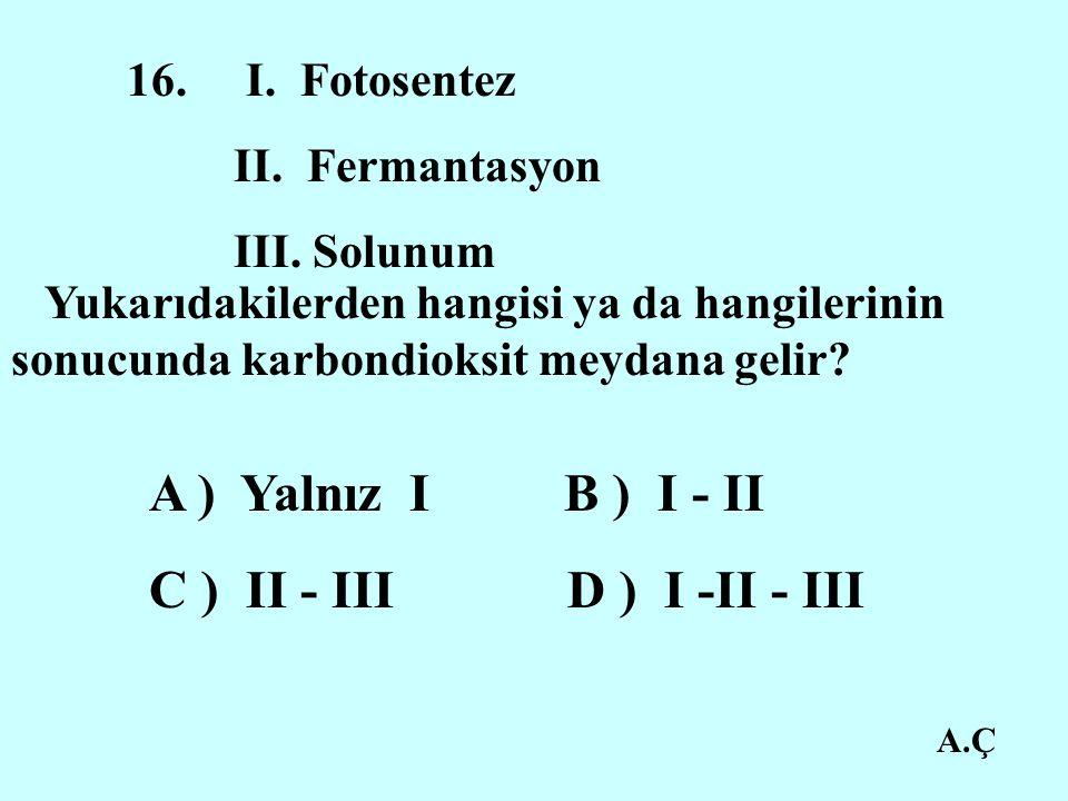 C ) II - III D ) I -II - III 16. I. Fotosentez II. Fermantasyon