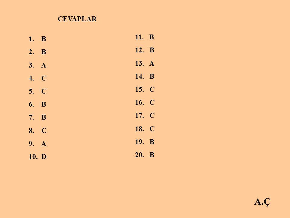 A.Ç CEVAPLAR 11. B 1. B 12. B 2. B 13. A 3. A 14. B 4. C 15. C 5. C