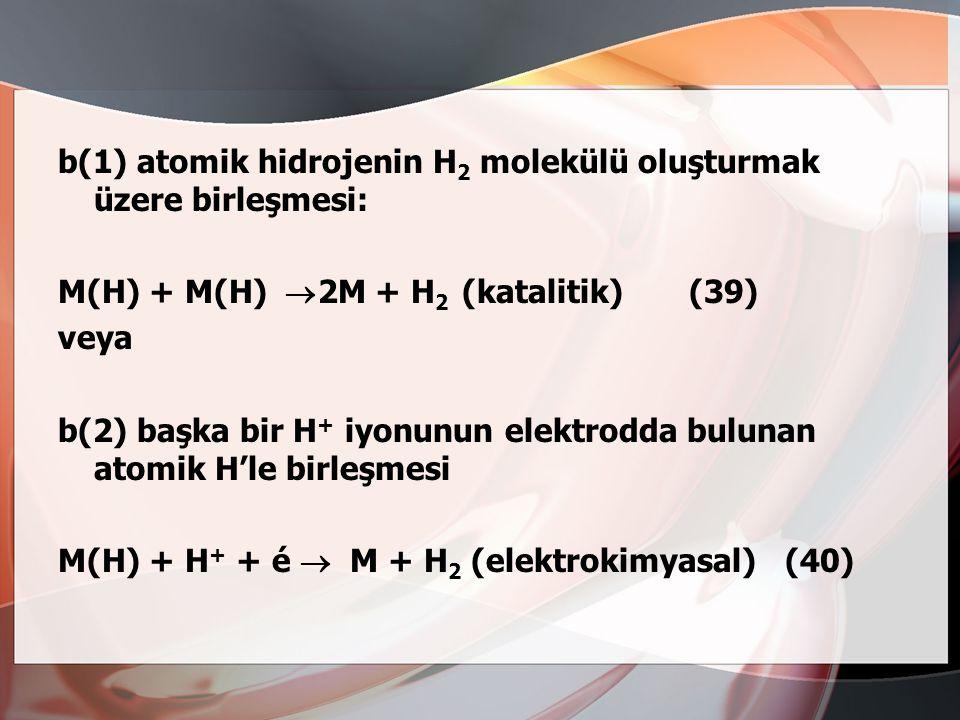 b(1) atomik hidrojenin H2 molekülü oluşturmak üzere birleşmesi: