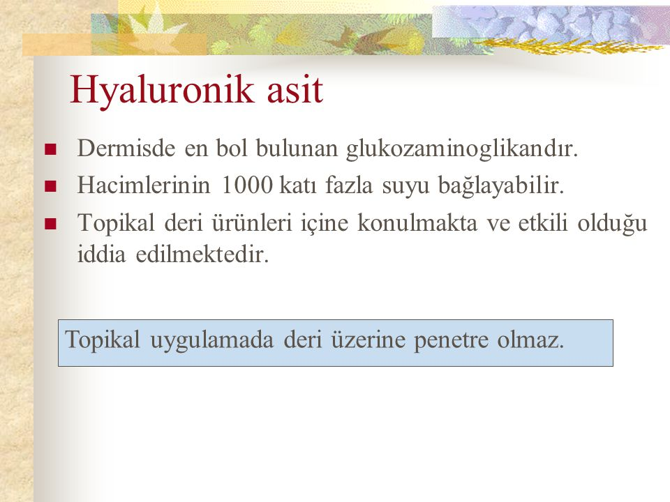 Hyaluronik asit Dermisde en bol bulunan glukozaminoglikandır.