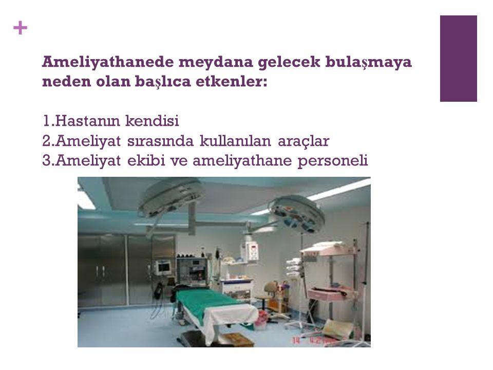 Ameliyathanede meydana gelecek bulaşmaya neden olan başlıca etkenler: 1.Hastanın kendisi 2.Ameliyat sırasında kullanılan araçlar 3.Ameliyat ekibi ve ameliyathane personeli