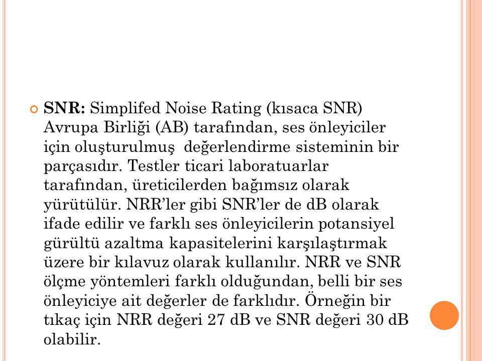 SNR: Simplifed Noise Rating (kısaca SNR) Avrupa Birliği (AB) tarafından, ses önleyiciler için oluşturulmuş değerlendirme sisteminin bir parçasıdır.