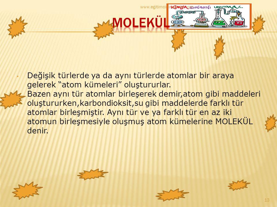 www.egitimcininadresi.com MOLEKÜL.