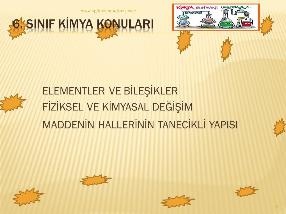 www.egitimcininadresi.com 6. SINIF KİMYA KONULARI.
