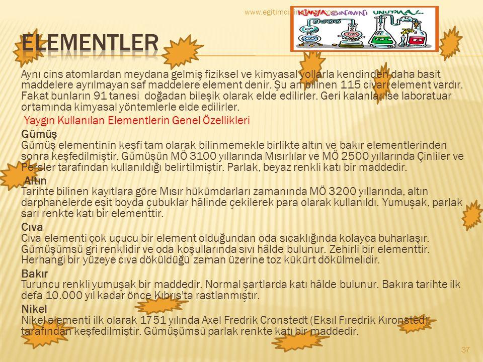 www.egitimcininadresi.com ELEMENTLER.
