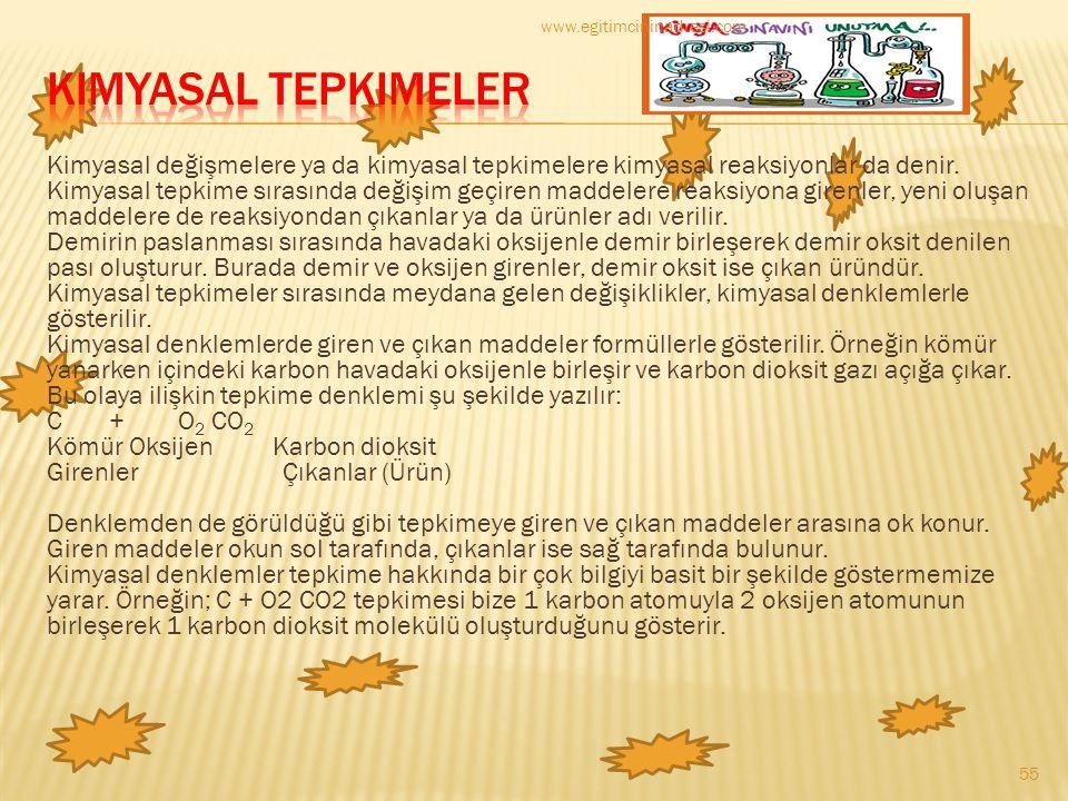 www.egitimcininadresi.com Kimyasal Tepkimeler.