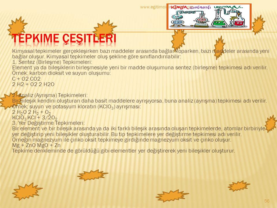 www.egitimcininadresi.com Tepkime Çeşitleri.