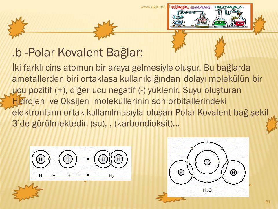 .b -Polar Kovalent Bağlar: