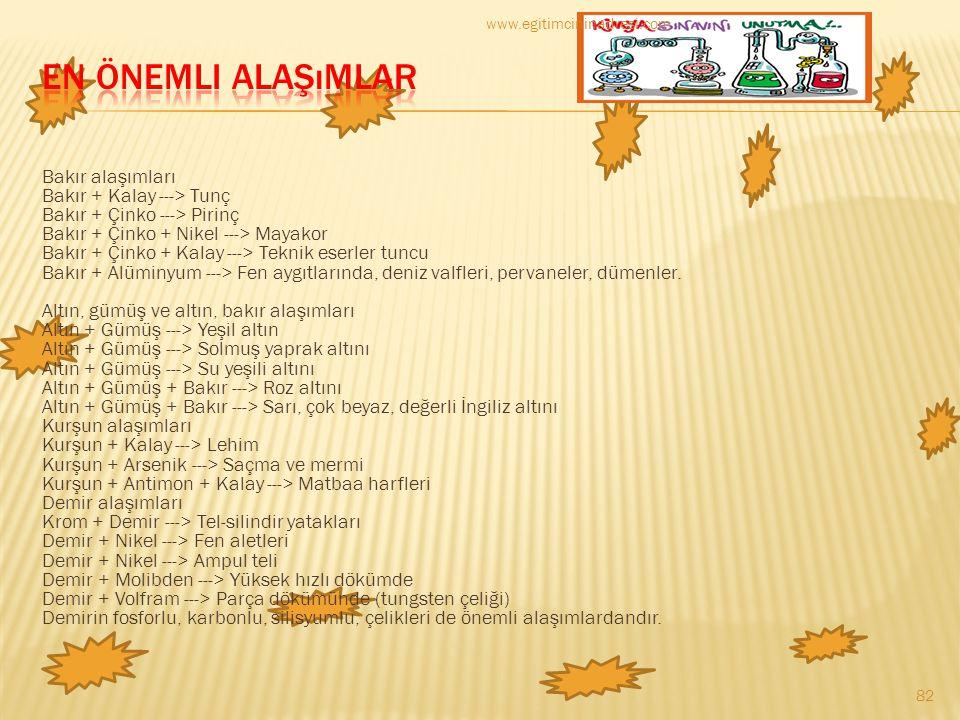 www.egitimcininadresi.com En Önemli Alaşımlar.