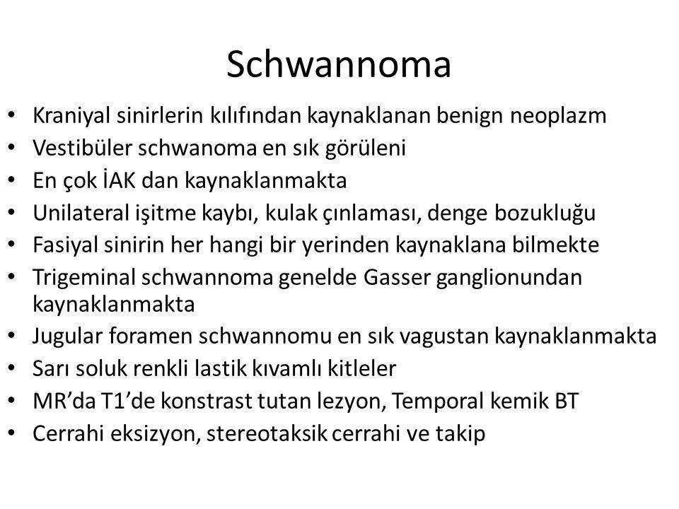 Schwannoma Kraniyal sinirlerin kılıfından kaynaklanan benign neoplazm