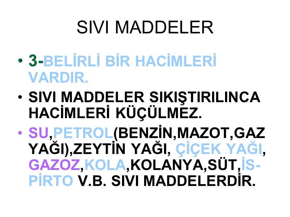 SIVI MADDELER 3-BELİRLİ BİR HACİMLERİ VARDIR.