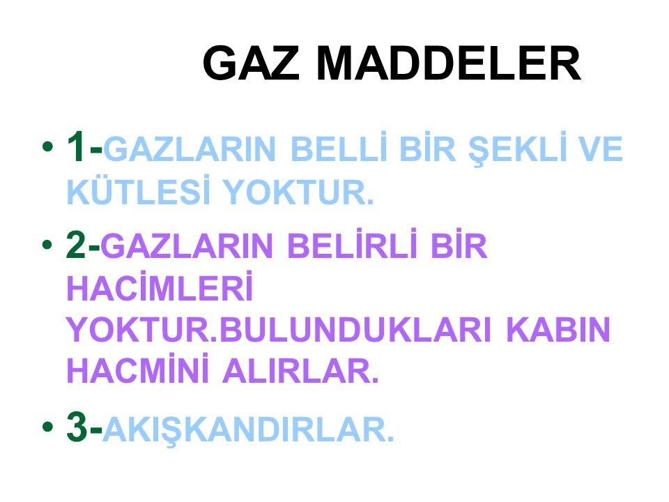 1-GAZLARIN BELLİ BİR ŞEKLİ VE KÜTLESİ YOKTUR.