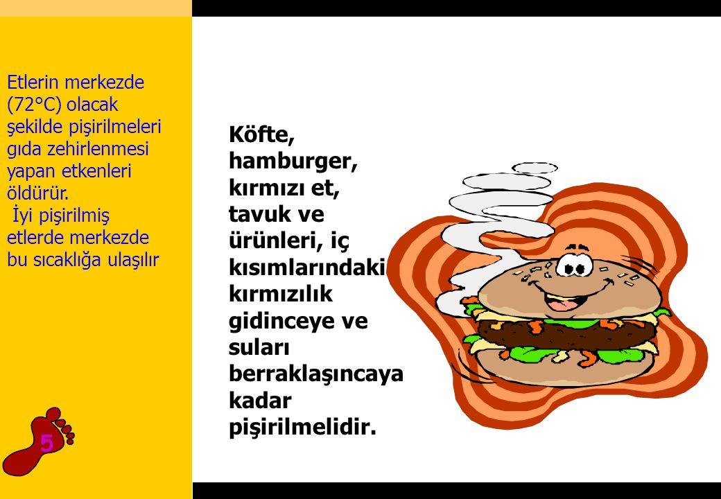 Etlerin merkezde (72°C) olacak şekilde pişirilmeleri gıda zehirlenmesi yapan etkenleri öldürür.