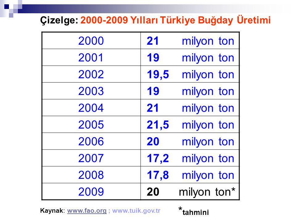 2000 21 milyon ton 2001 19 milyon ton 2002 19,5 milyon ton 2003 2004