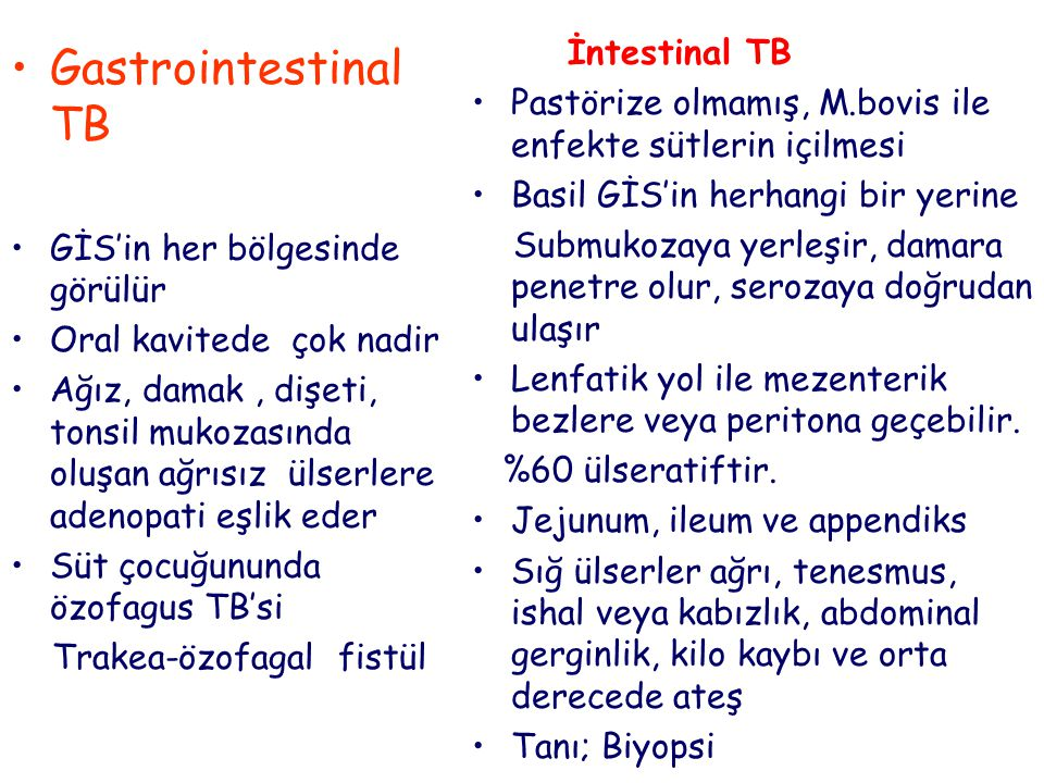Gastrointestinal TB İntestinal TB