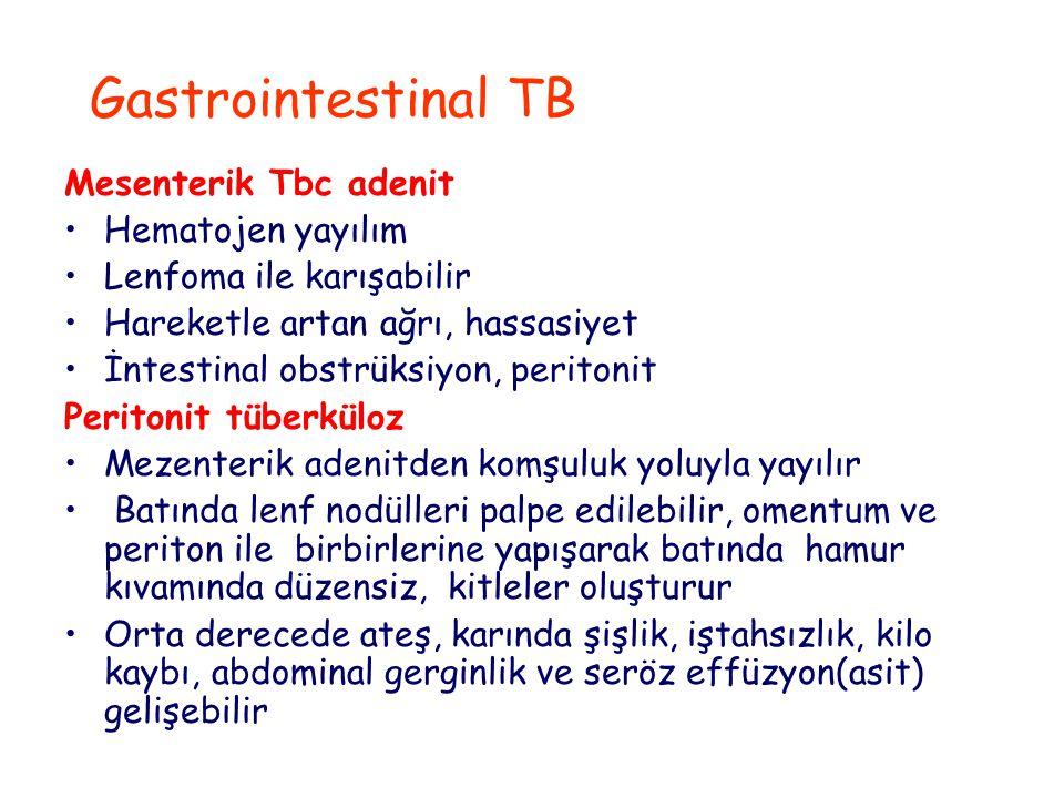 Gastrointestinal TB Mesenterik Tbc adenit Hematojen yayılım