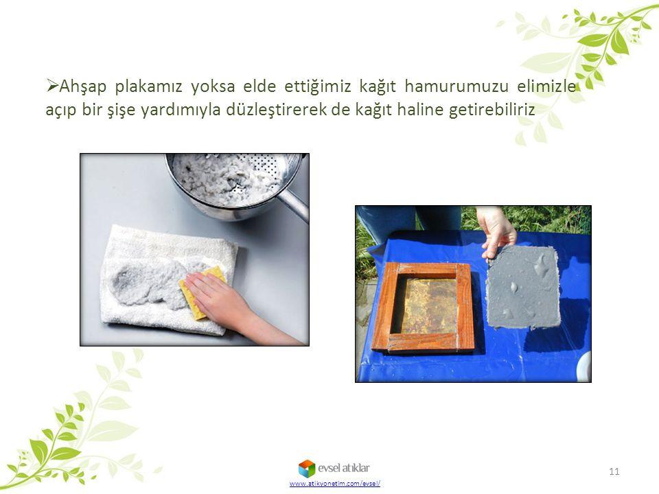 Ahşap plakamız yoksa elde ettiğimiz kağıt hamurumuzu elimizle açıp bir şişe yardımıyla düzleştirerek de kağıt haline getirebiliriz
