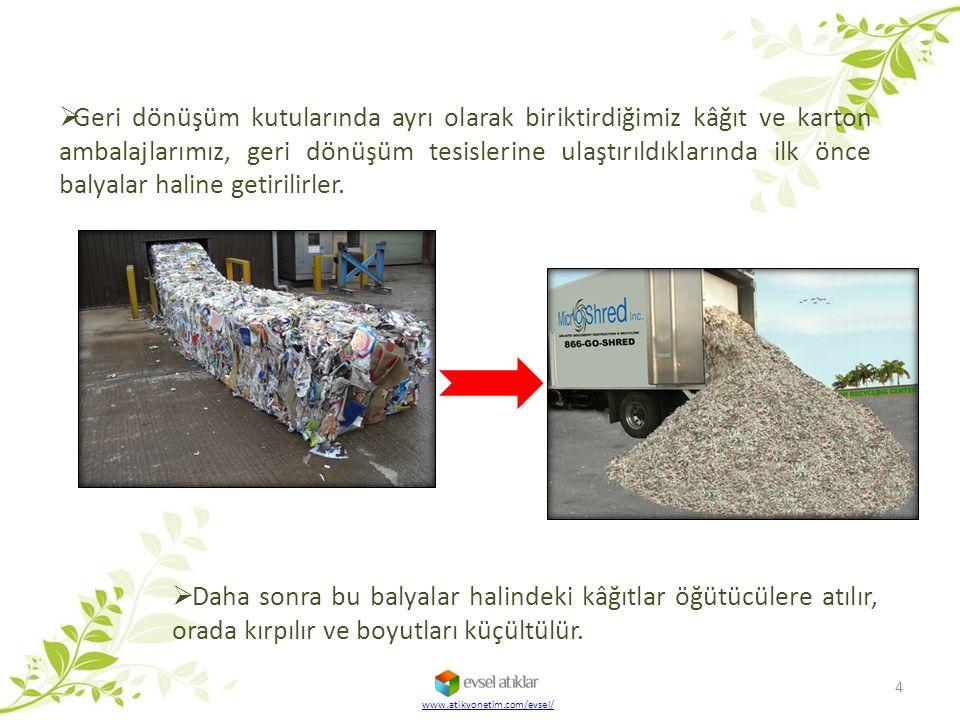 Geri dönüşüm kutularında ayrı olarak biriktirdiğimiz kâğıt ve karton ambalajlarımız, geri dönüşüm tesislerine ulaştırıldıklarında ilk önce balyalar haline getirilirler.