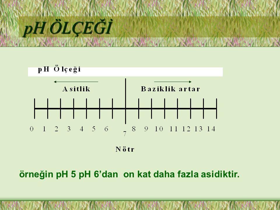 pH ÖLÇEĞİ örneğin pH 5 pH 6'dan on kat daha fazla asidiktir.
