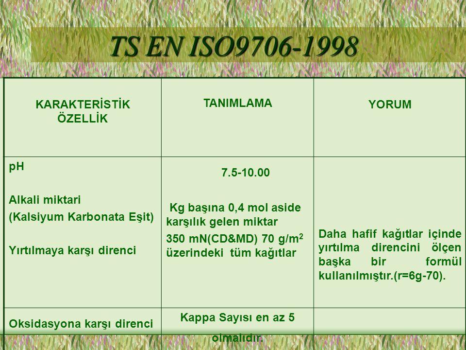 TS EN ISO9706-1998 7.5-10.00 KARAKTERİSTİK ÖZELLİK TANIMLAMA YORUM pH