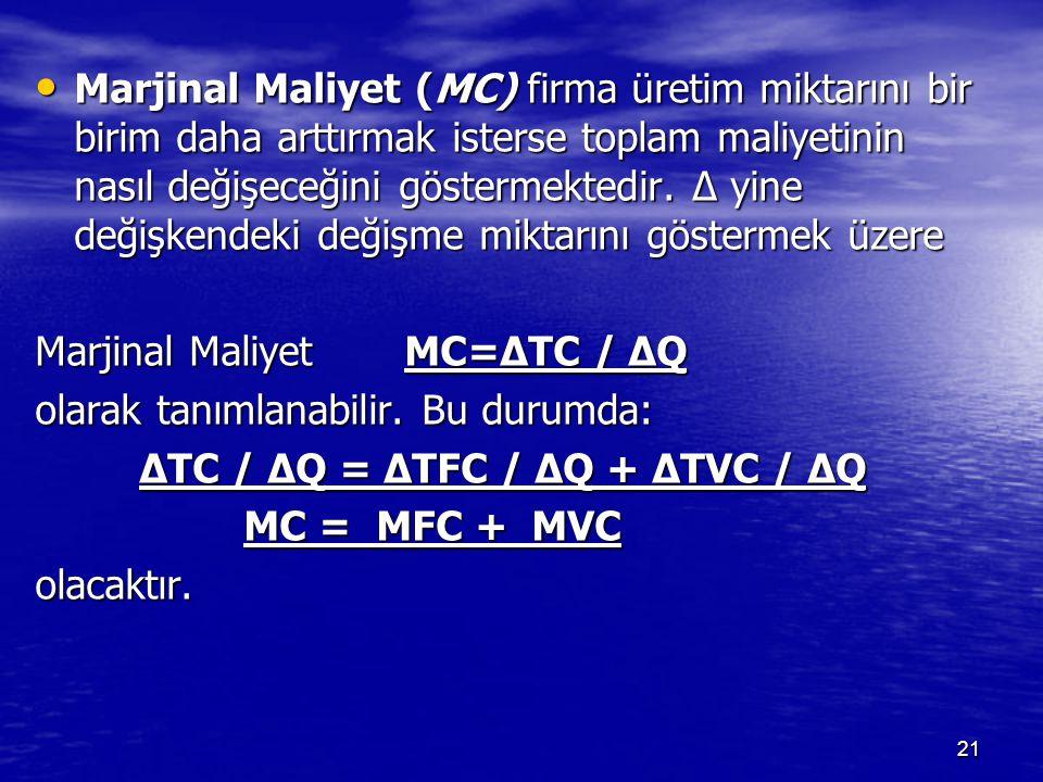 Marjinal Maliyet (MC) firma üretim miktarını bir birim daha arttırmak isterse toplam maliyetinin nasıl değişeceğini göstermektedir. Δ yine değişkendeki değişme miktarını göstermek üzere