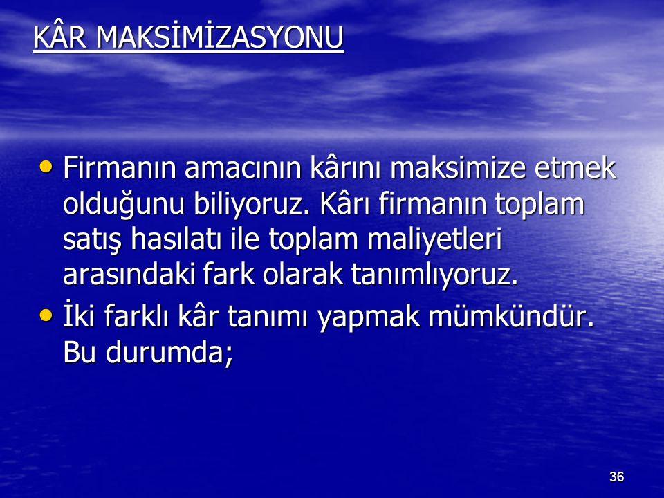 KÂR MAKSİMİZASYONU