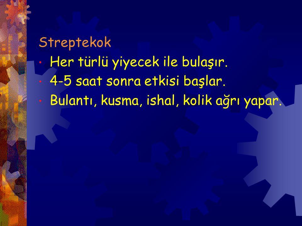 Streptekok Her türlü yiyecek ile bulaşır. 4-5 saat sonra etkisi başlar.