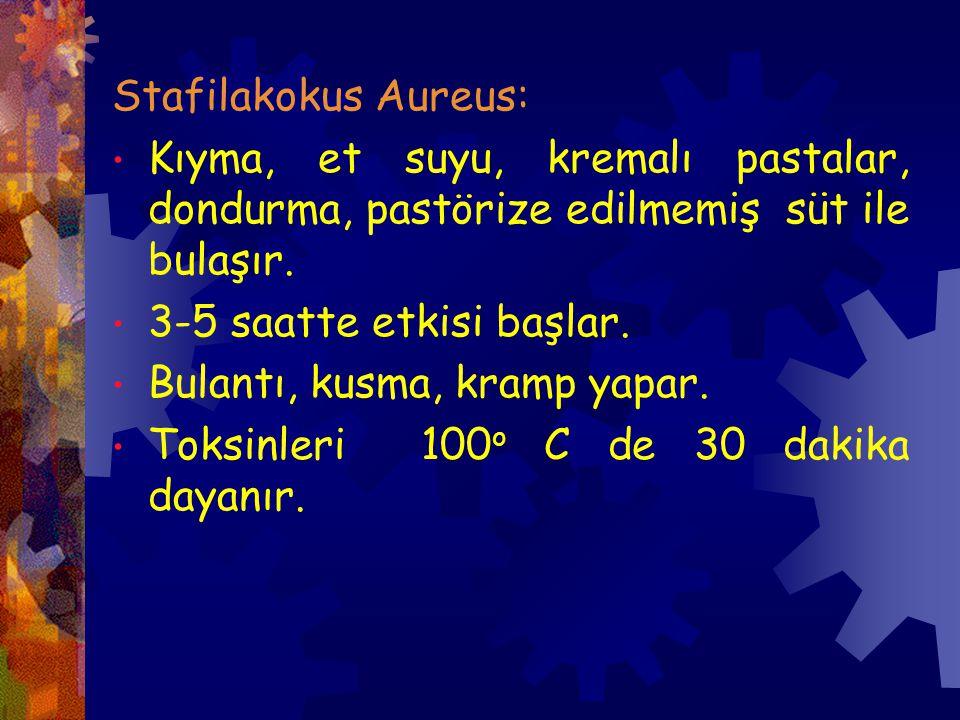 Stafilakokus Aureus: Kıyma, et suyu, kremalı pastalar, dondurma, pastörize edilmemiş süt ile bulaşır.