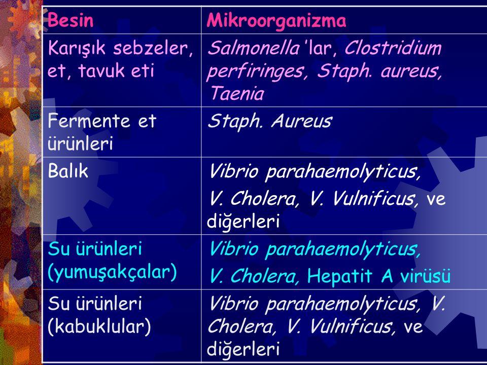 Besin Mikroorganizma. Karışık sebzeler, et, tavuk eti. Salmonella 'lar, Clostridium perfiringes, Staph. aureus, Taenia.