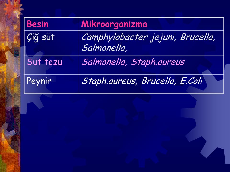 Besin Mikroorganizma. Çiğ süt. Camphylobacter jejuni, Brucella, Salmonella, Süt tozu. Salmonella, Staph.aureus.