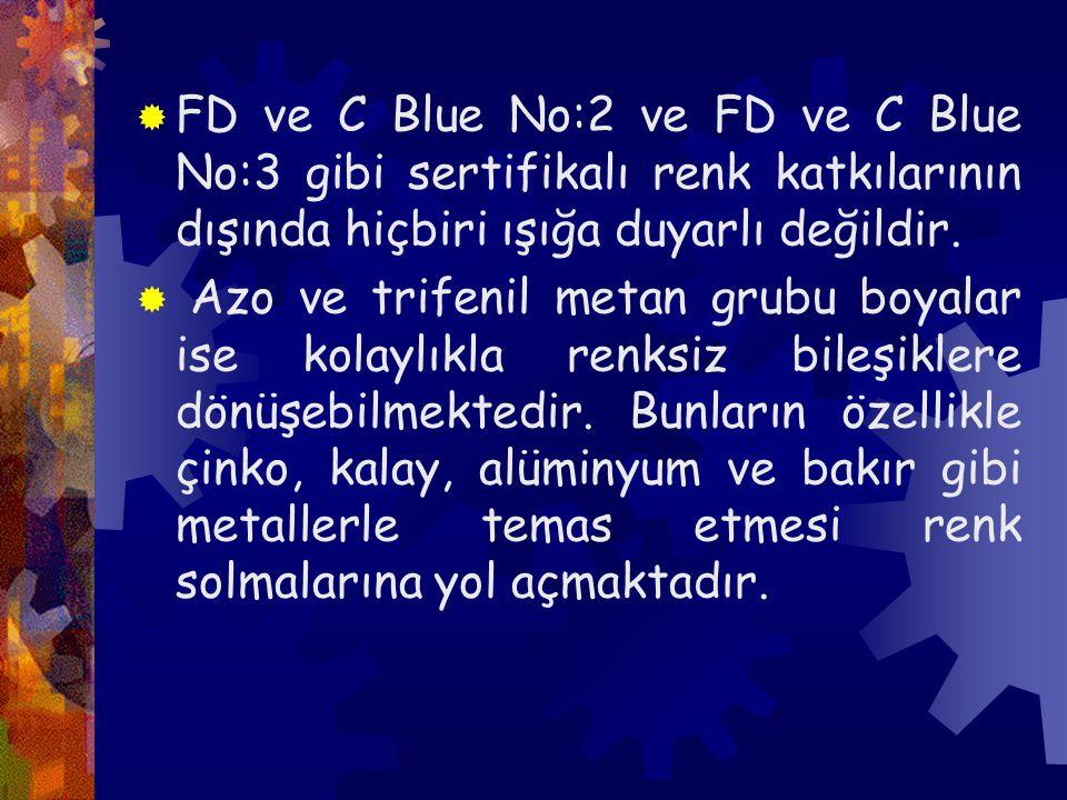 FD ve C Blue No:2 ve FD ve C Blue No:3 gibi sertifikalı renk katkılarının dışında hiçbiri ışığa duyarlı değildir.