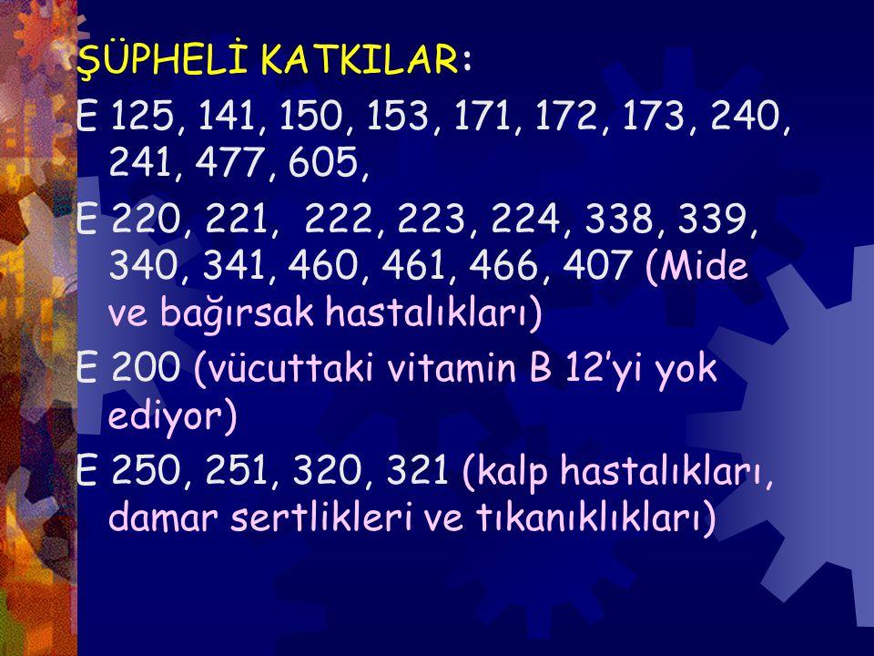 ŞÜPHELİ KATKILAR: E 125, 141, 150, 153, 171, 172, 173, 240, 241, 477, 605,