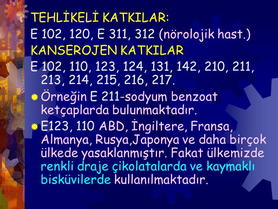 TEHLİKELİ KATKILAR: E 102, 120, E 311, 312 (nörolojik hast.) KANSEROJEN KATKILAR.