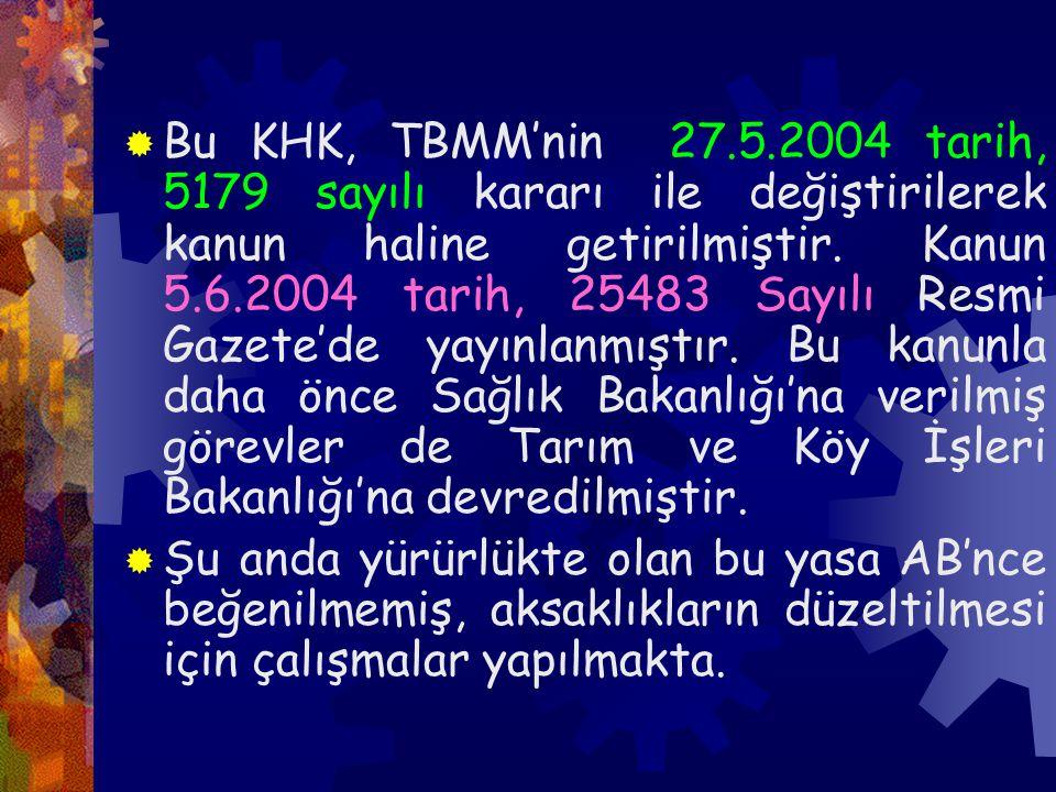 Bu KHK, TBMM'nin 27.5.2004 tarih, 5179 sayılı kararı ile değiştirilerek kanun haline getirilmiştir. Kanun 5.6.2004 tarih, 25483 Sayılı Resmi Gazete'de yayınlanmıştır. Bu kanunla daha önce Sağlık Bakanlığı'na verilmiş görevler de Tarım ve Köy İşleri Bakanlığı'na devredilmiştir.