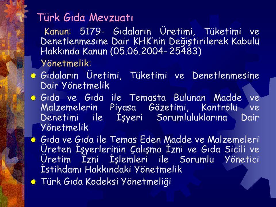 Türk Gıda Mevzuatı Kanun: 5179- Gıdaların Üretimi, Tüketimi ve Denetlenmesine Dair KHK'nin Değiştirilerek Kabulü Hakkında Kanun (05.06.2004- 25483)
