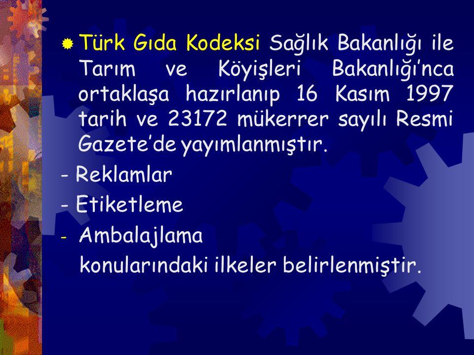 Türk Gıda Kodeksi Sağlık Bakanlığı ile Tarım ve Köyişleri Bakanlığı'nca ortaklaşa hazırlanıp 16 Kasım 1997 tarih ve 23172 mükerrer sayılı Resmi Gazete'de yayımlanmıştır.